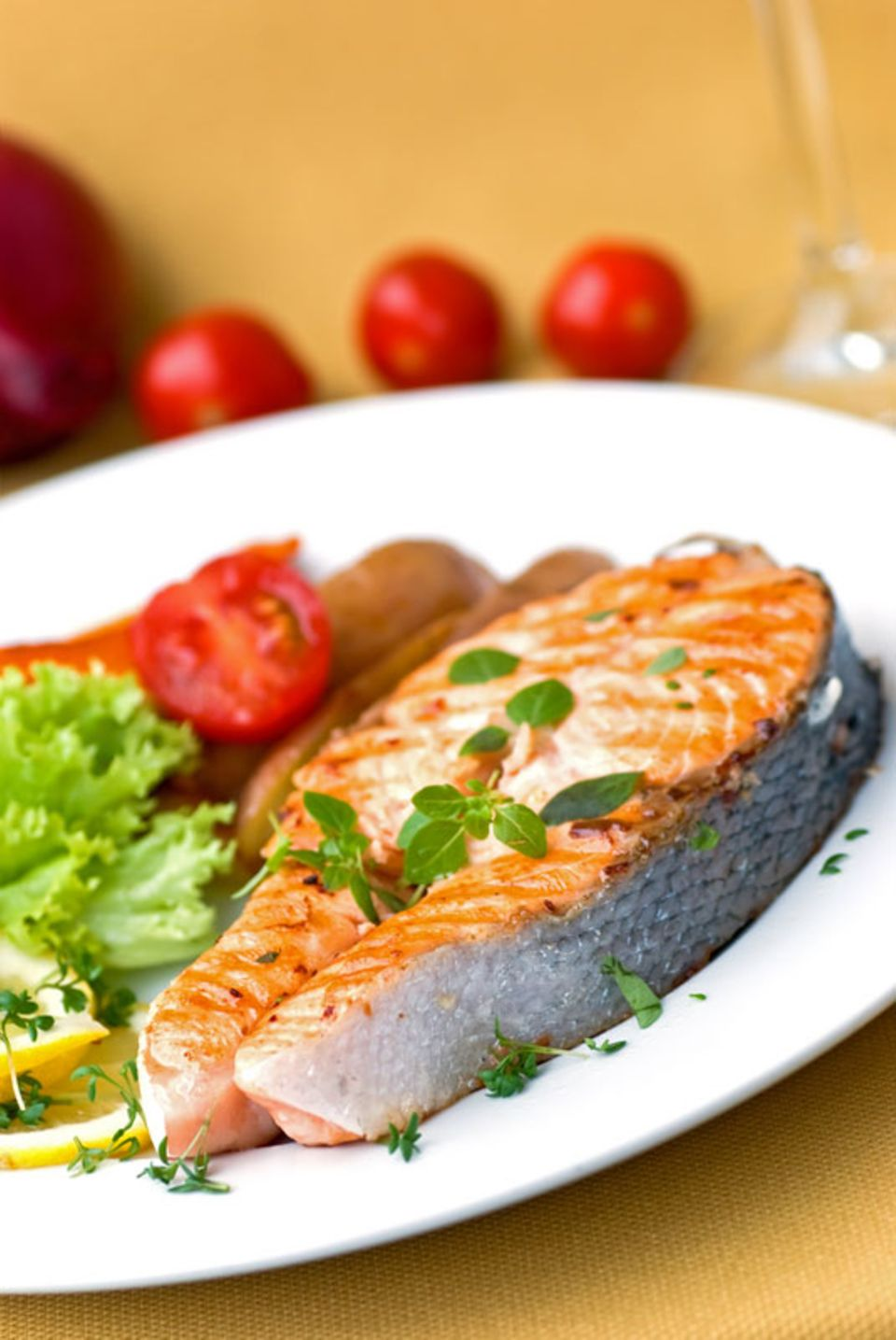 Grilled salmon with butterfly cut