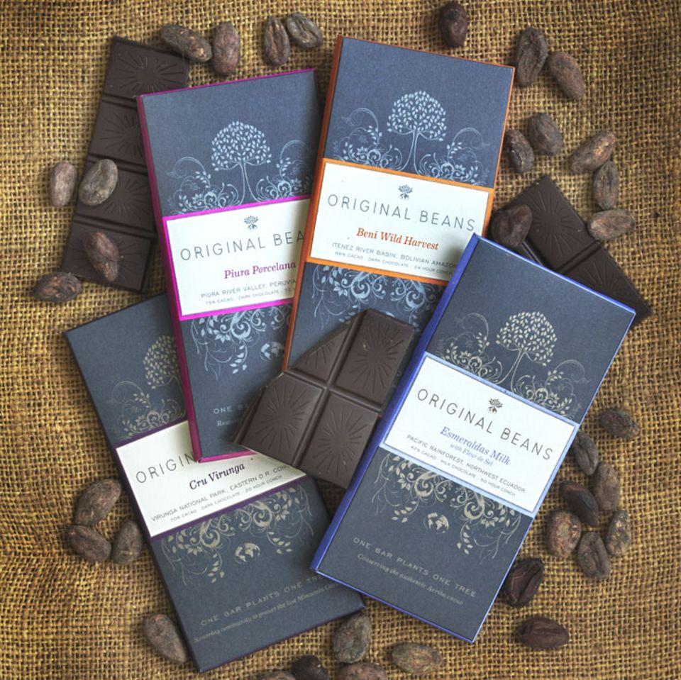 Momentan gibt es vier Sorten von Original Beans Schokolade
