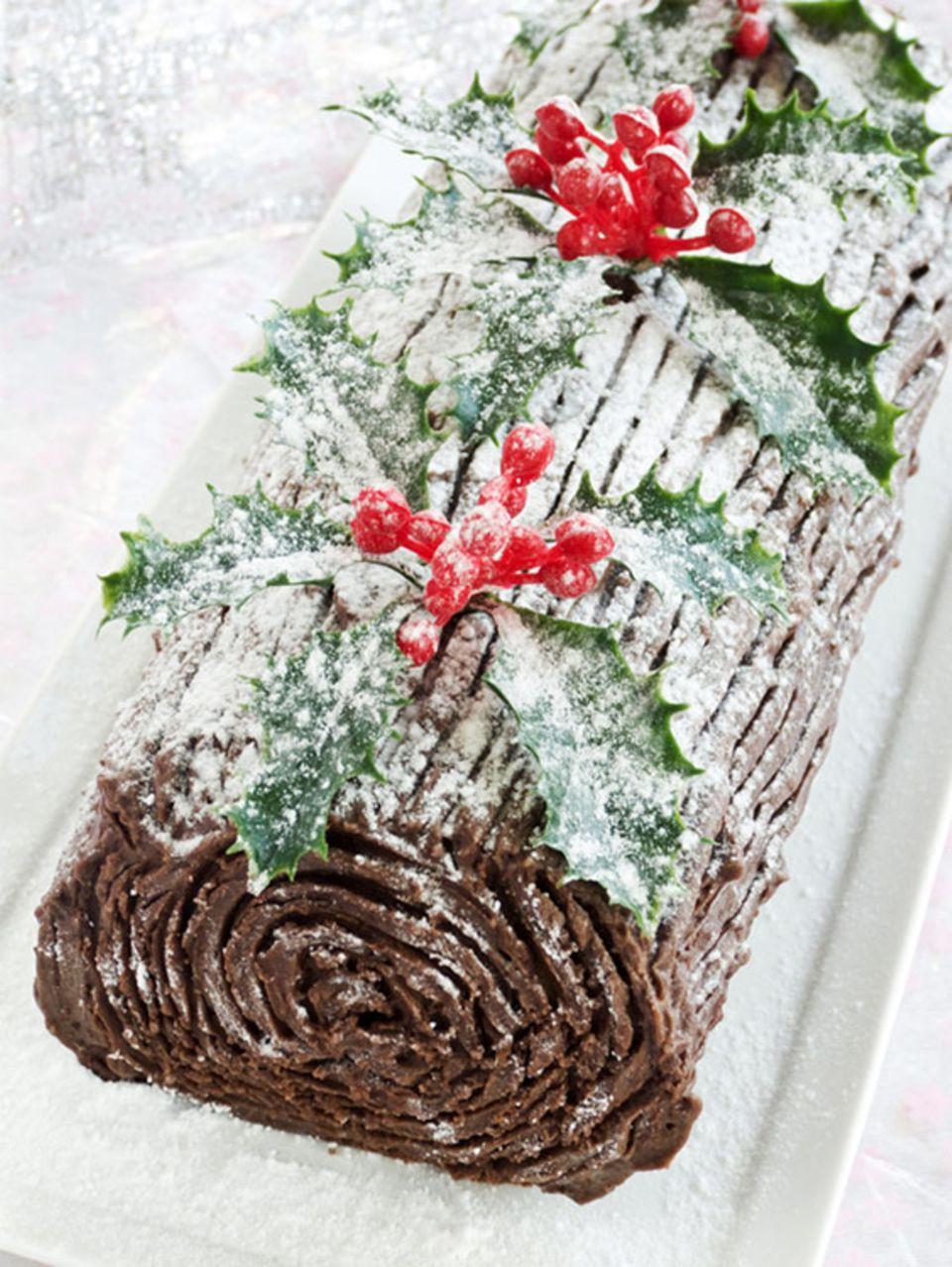 Essbarer Holzscheit: Bûche de Noël