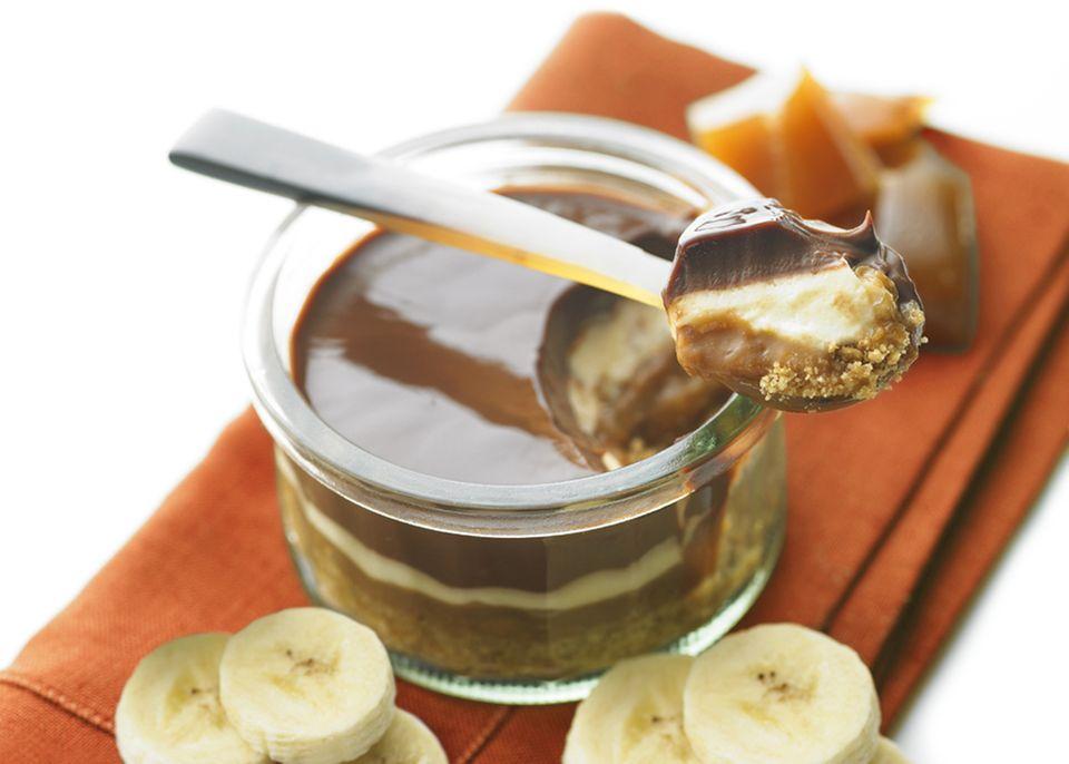Traumhaft: Schokoladencreme, Mascarpone, Bananen-Karamell und Keks