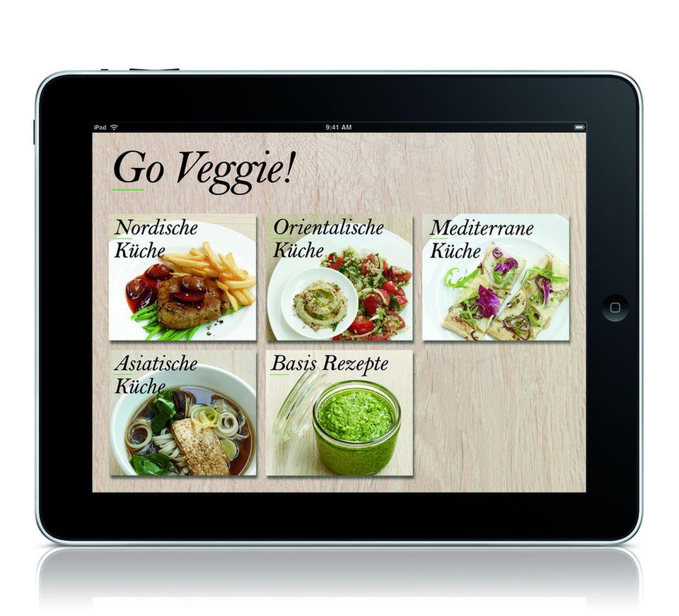 """Die fünf kulinarischen Kategorien von """"Go Veggie!"""" machen die App schön übersichtlich."""