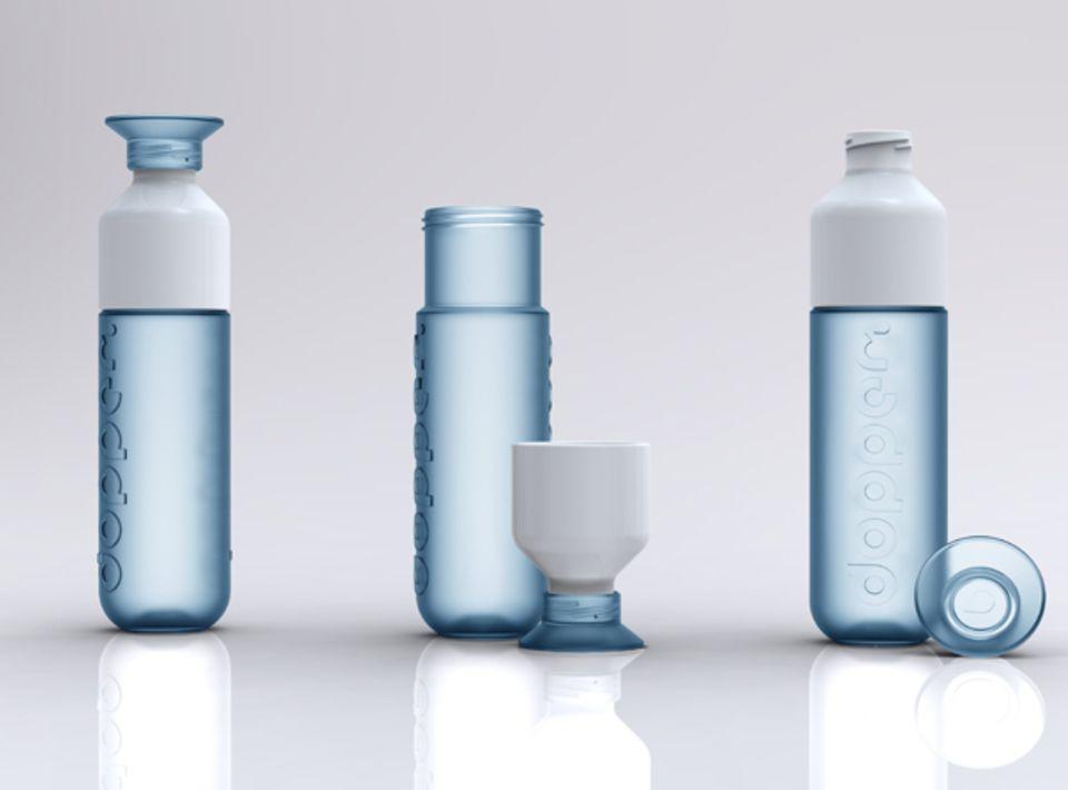 Die grüne Wasserflasche zum Mitnehmen