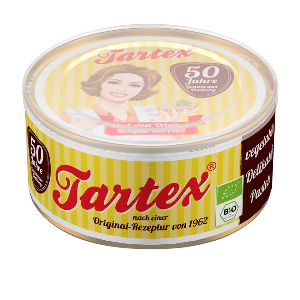"""Die Tartex """"Delikatess-Pastete"""" nach einem Rezept von 1962 wird heute – 50 Jahre später – im Retro Look aufgelegt"""