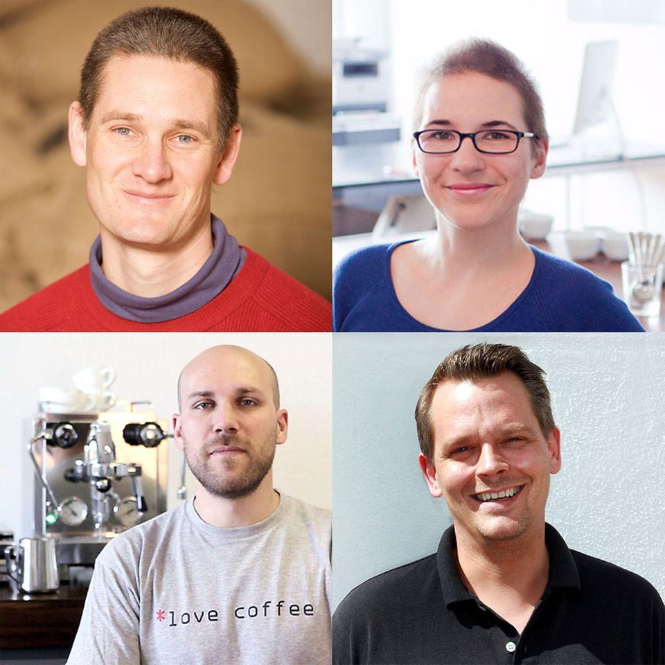 Das Team der Kaffeeschule Hamburg (von l. o. nach r. u.): Pingo Felsen, Steffi Hesse, Tolga Daglum, Georg Schwarz