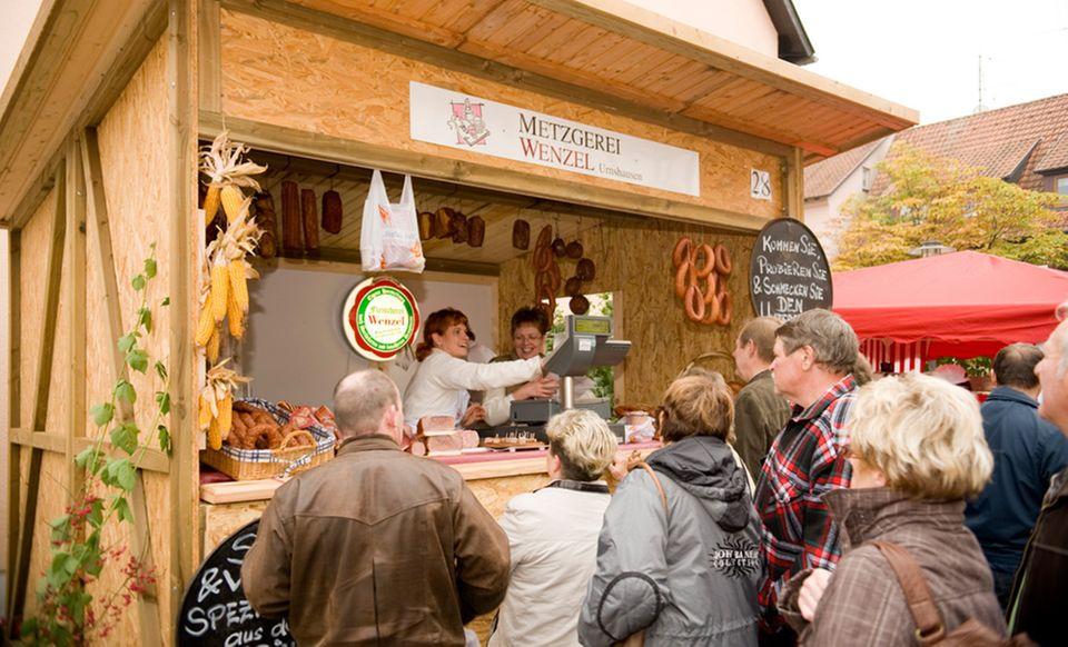Handwerklich erzeugten Waren auf dem Rhöner Wurstmarkt