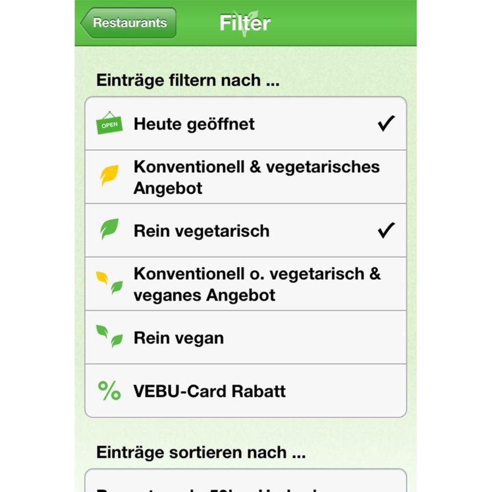 Restaurantfinder für Vegetarier und Veganer: VEBU-App