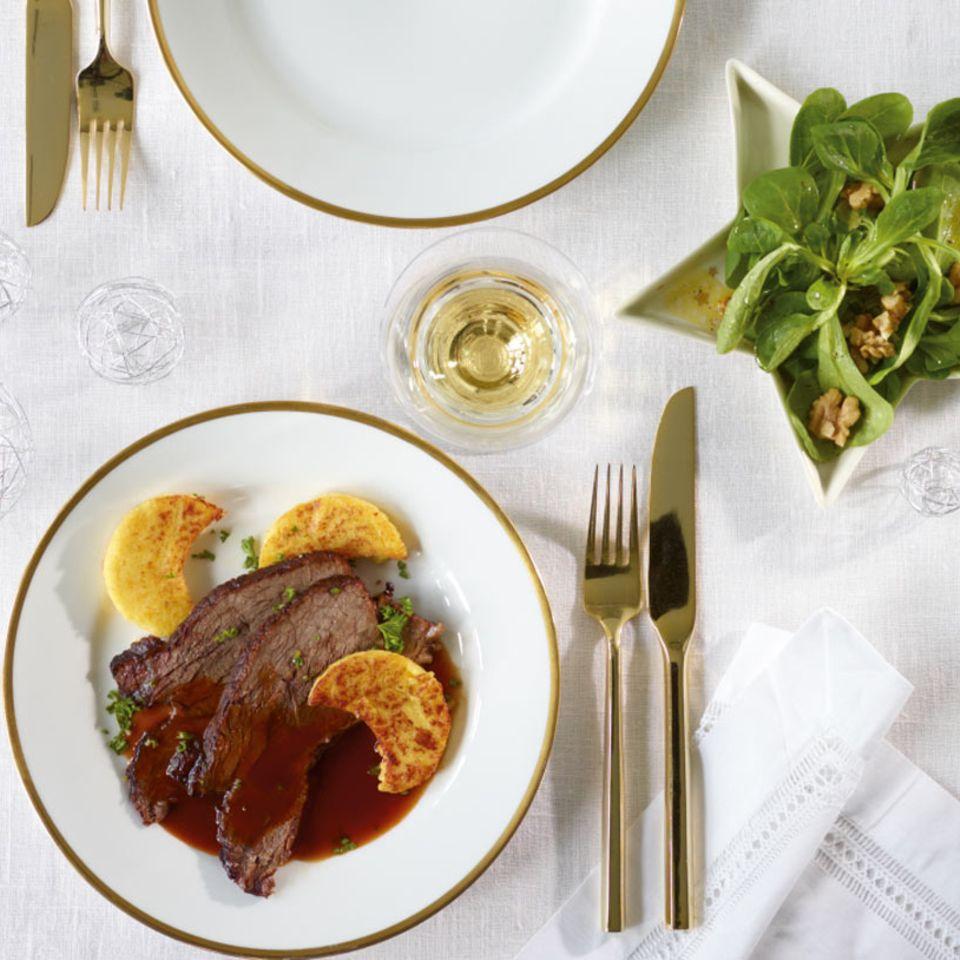 Menü mit Rinderschmorbraten
