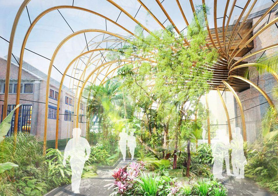 Ein Vorgeschmack auf die modern designten Gewächshäuser in der Laverstoke Mill