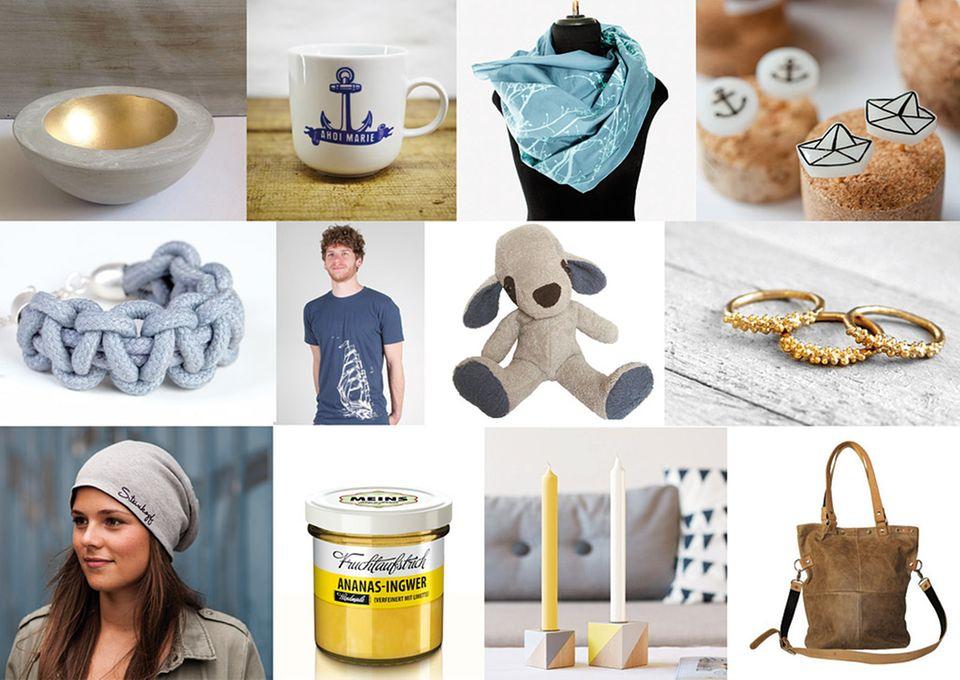 Eine Auswahl an Produkten, die man auf dem Feingemacht Designmarkt finden kann