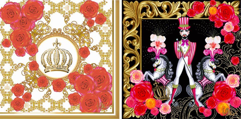"""Royal Rose"" und ""Mr Harald"" aus der ""Designs for Duni-Kollektion"" von Harald Glööckler"