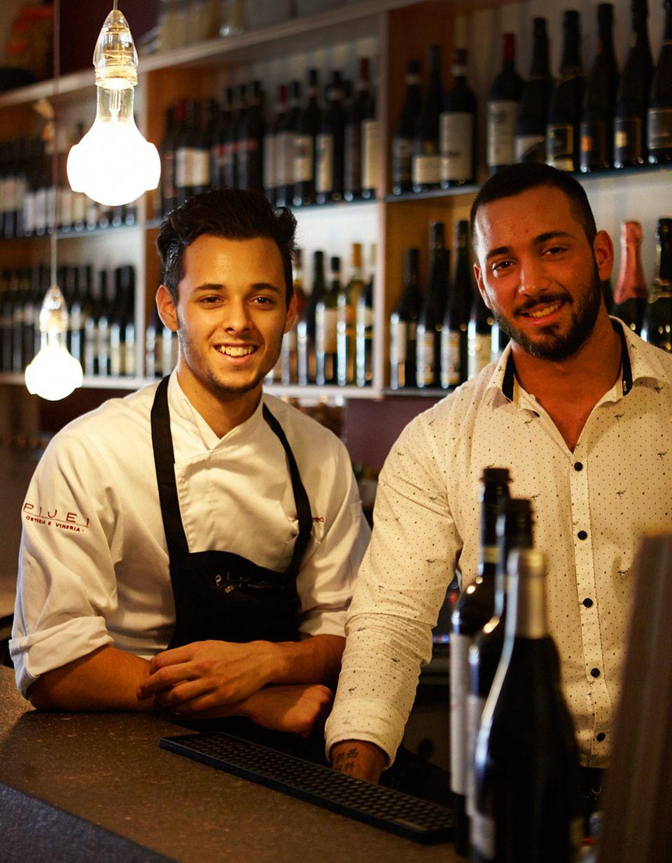 Die Brüder Leali: Andrea (l.) kocht, Marco kümmert sich um Wein und Service in ihrer Polenteria P. J.