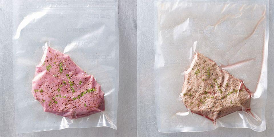 Rechts ist das Fleisch noch roh, links sanft sous-vide gegart. Für typische Röstaromen das Fleisch noch kurz anbraten