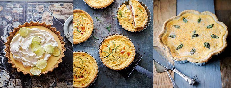 Leckere Vielfalt: Key Lime Pie, herzhafte Ziegenkäse-Cheesecake-Tarte und spanischer Cheesecake mit Minze und Ricotta