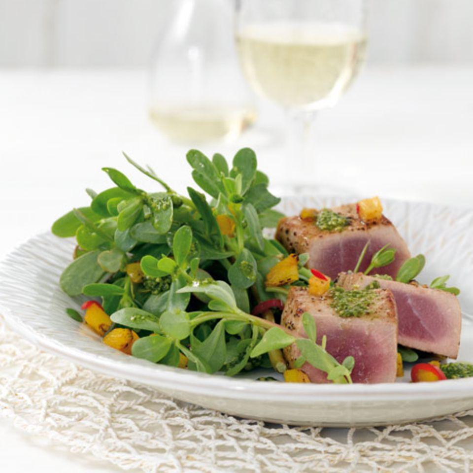 Portulak mit Thunfisch und Asia-Pesto