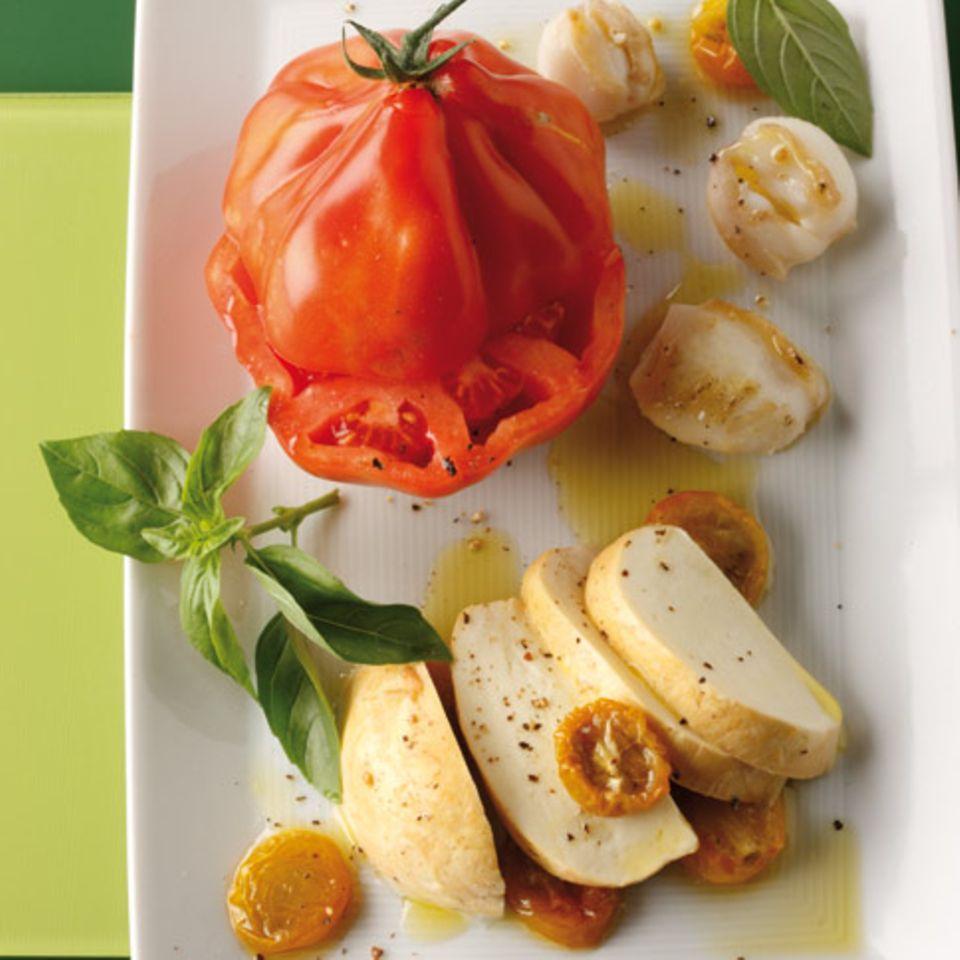 Ochsenherz-Tomaten mit Mozzarella
