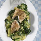 Fisch mit Curry-Mangold