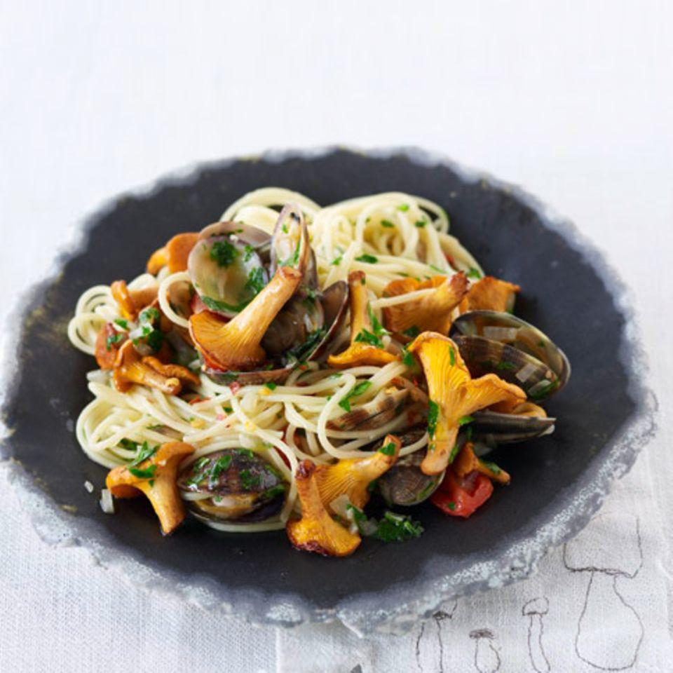 Spaghettini mit Pfifferlingen und Vongole