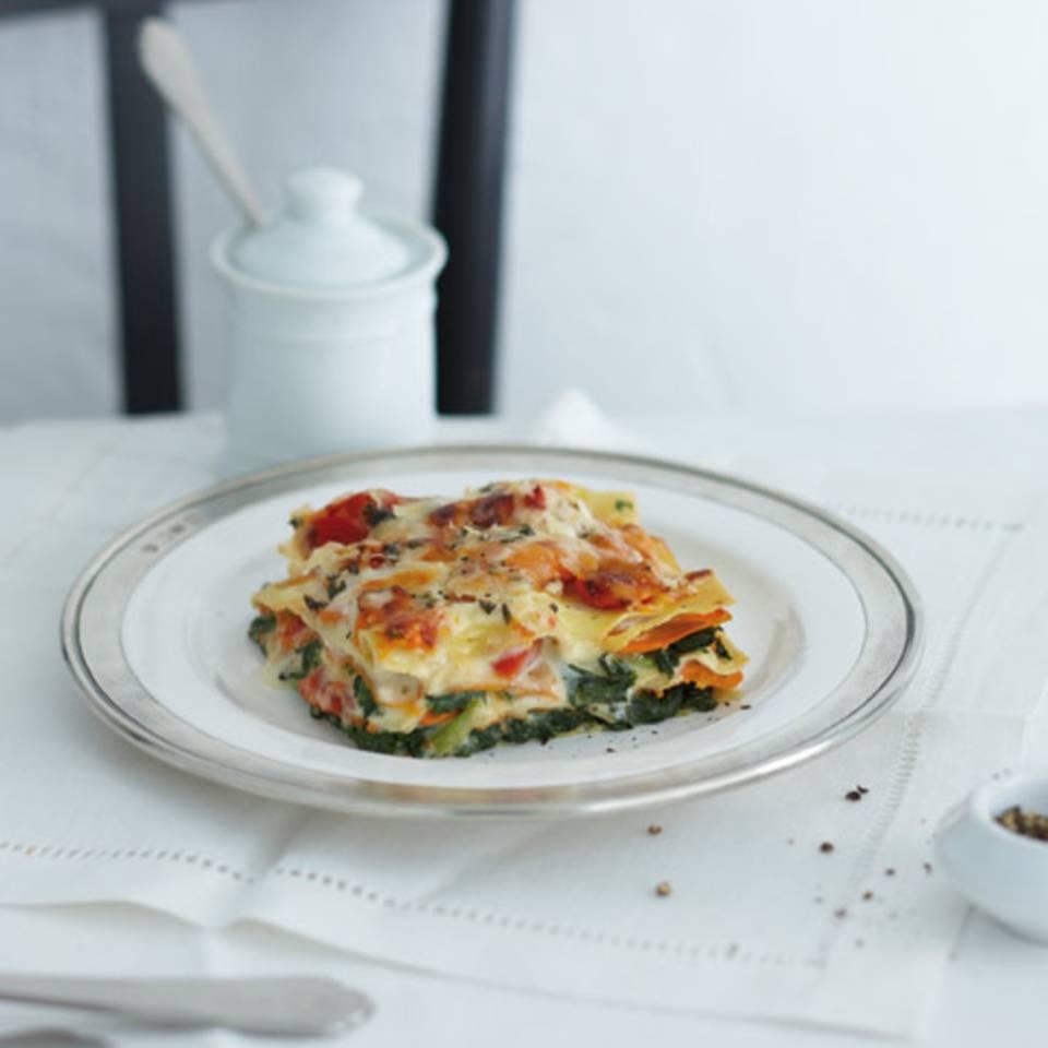 Kürbis-Spinat-Lasagne mit Ziegenkäse-Béchamel Rezept