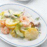 Kartoffelragout mit Meeresfrüchten