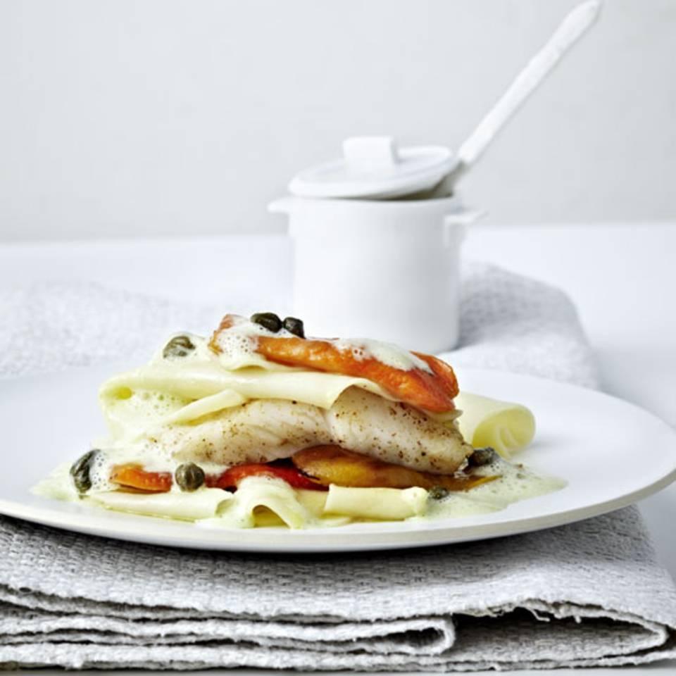 Lasagne mit Paprika und Steinbutt Rezept