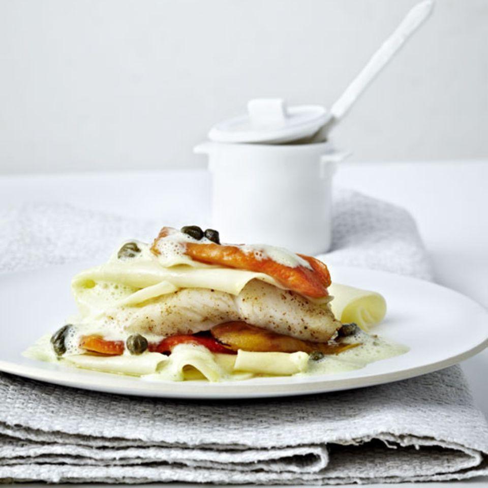 Lasagne mit Paprika und Steinbutt