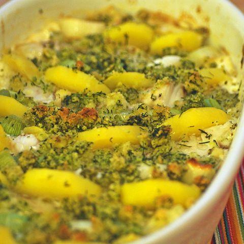 Kartoffel-Lauch-Gratin mit Kabeljau