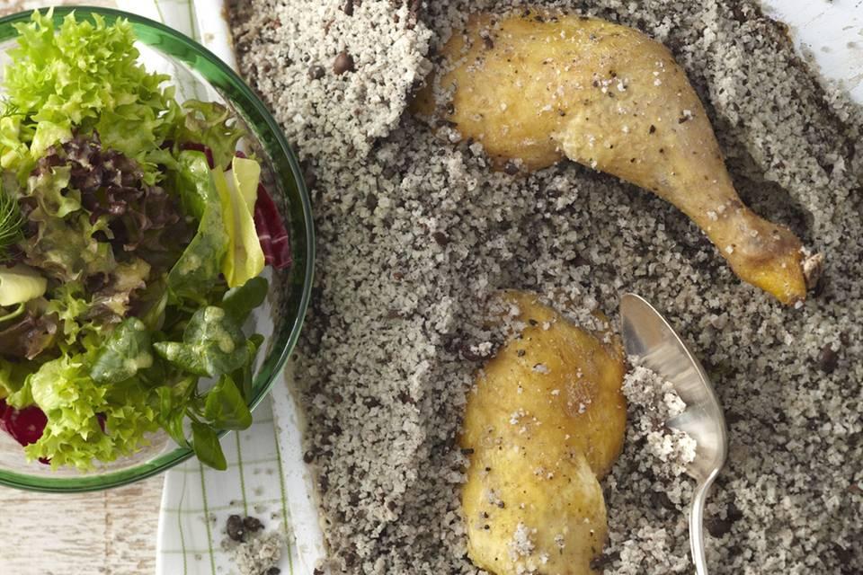 Blattsalat mit Kaffee-Huhn Rezept