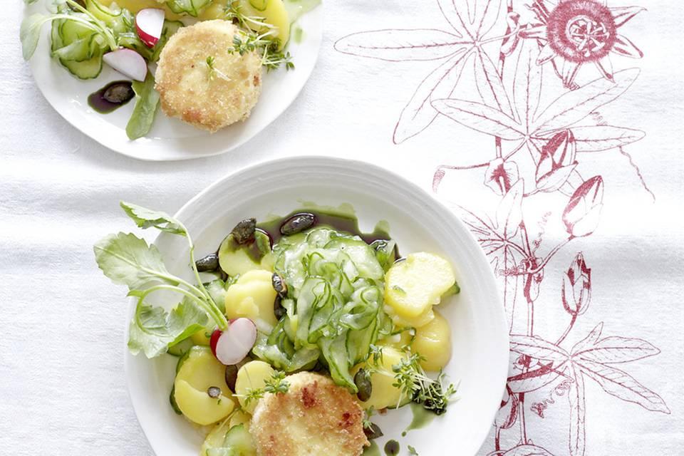 Kartoffel-Gurken-Salat mit Ziegenkäse Rezept