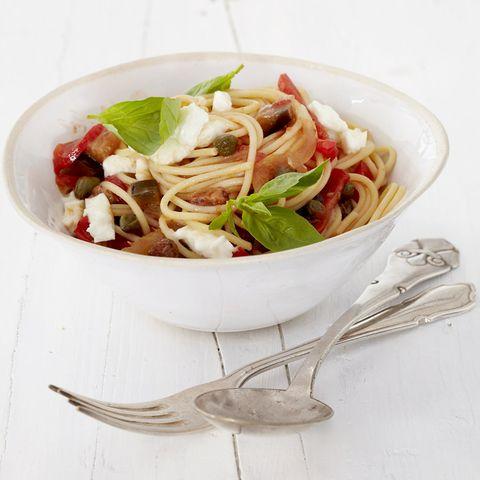 Caponata-Mozzarella-Spaghetti