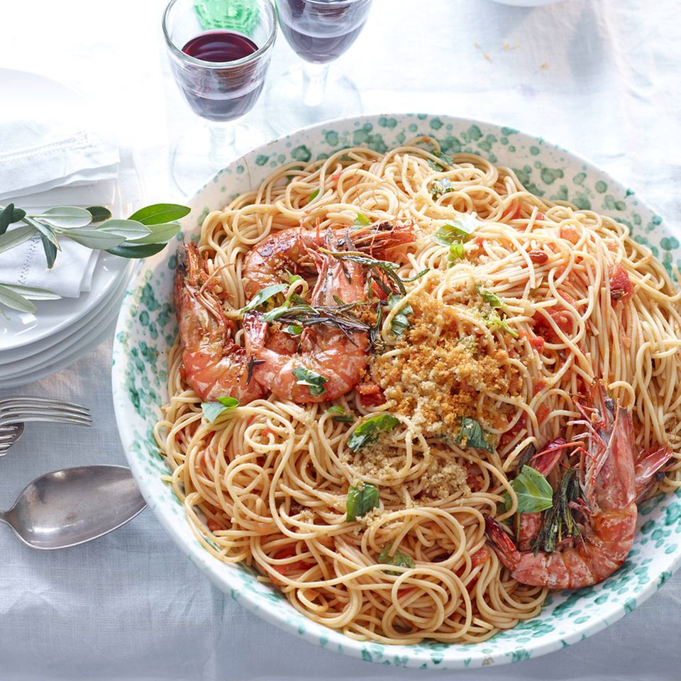 Spaghetti mit Garnelen