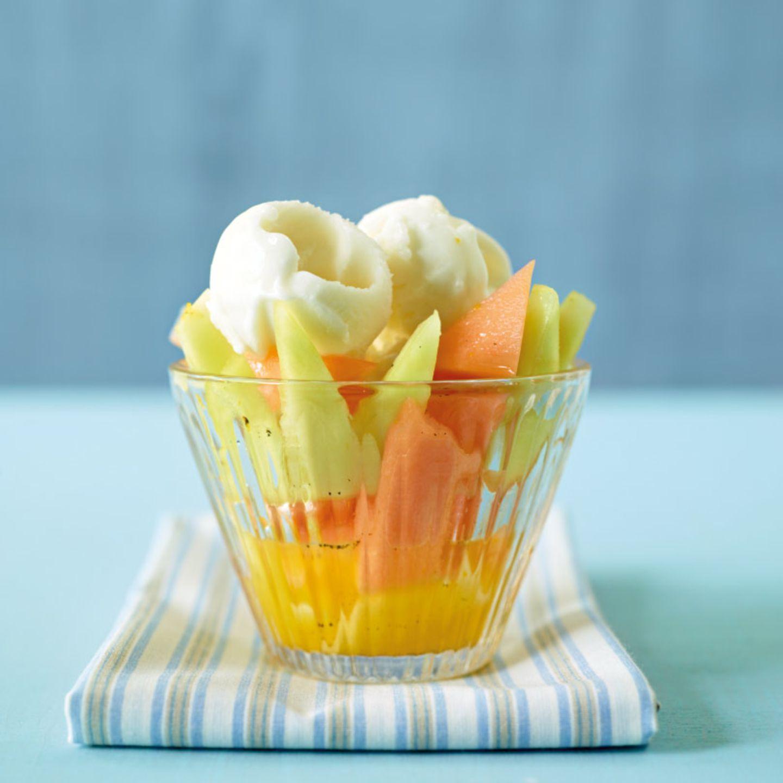 Melonensalat mit Zitronensorbet