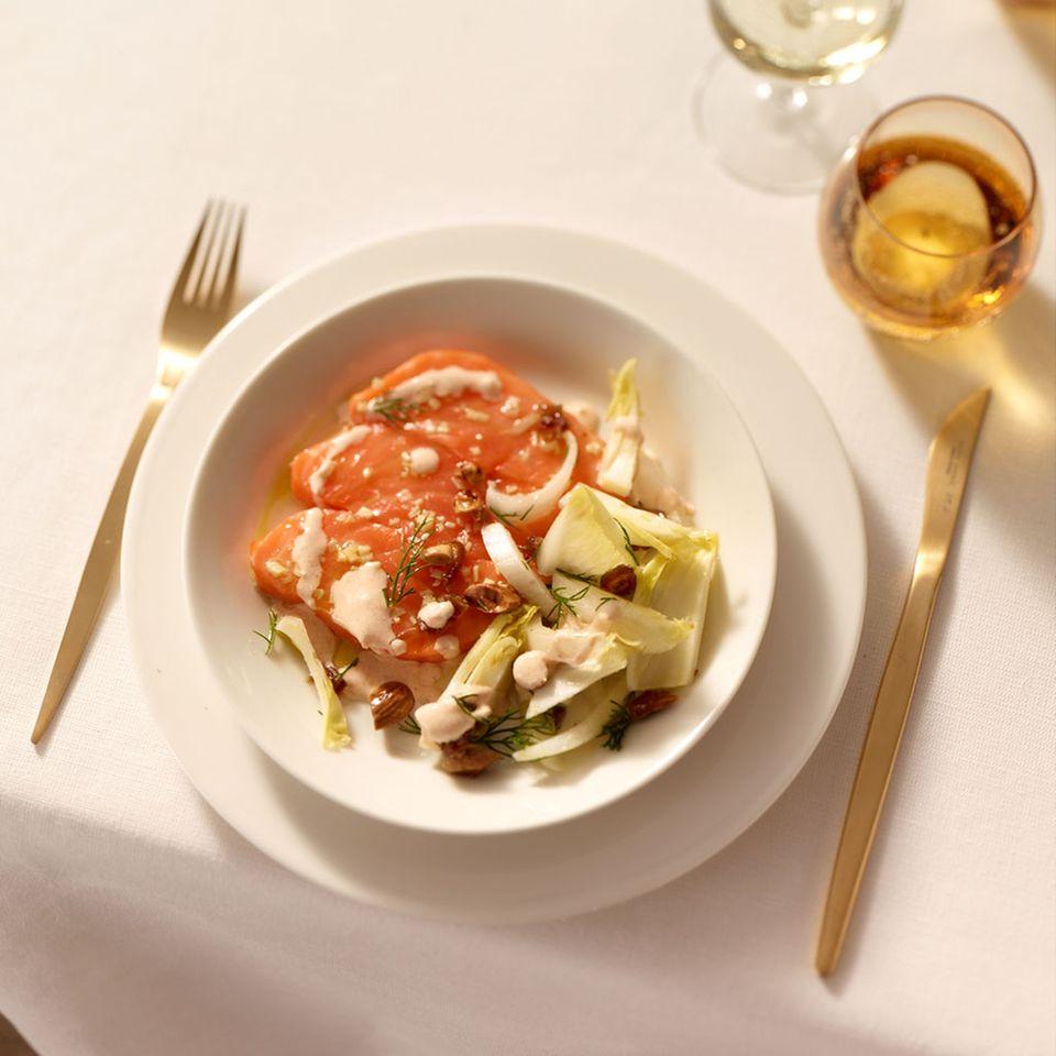 Chicoréesalat mit Lachs