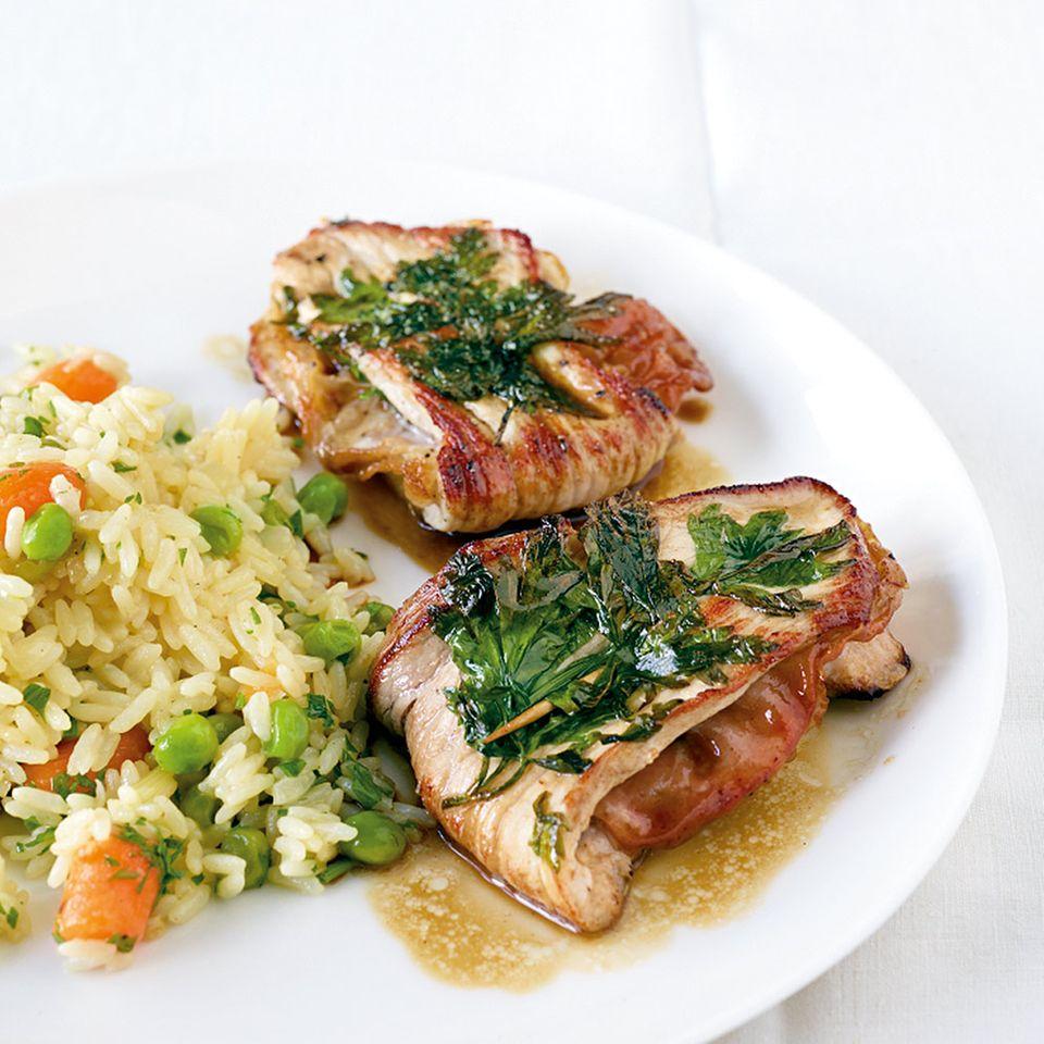 Gemüsereis mit gefüllten Schnitzelchen