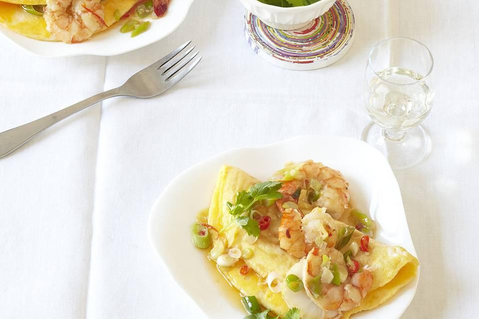 Chili-Garnelen-Omelette Rezept