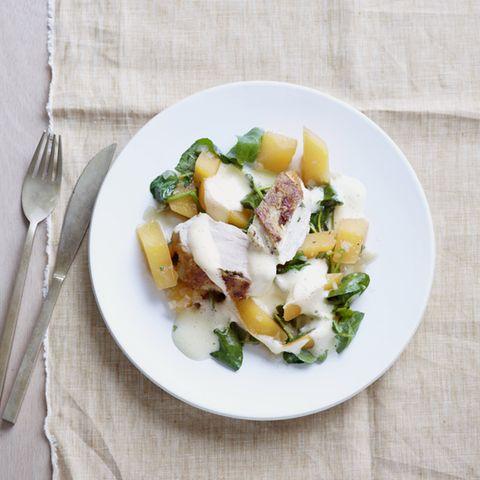 Hähnchenbrust mit Olivenöl-Sabayon
