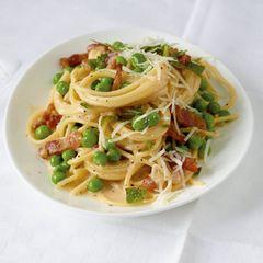 Spaghetti-Erbsen-Carbonara