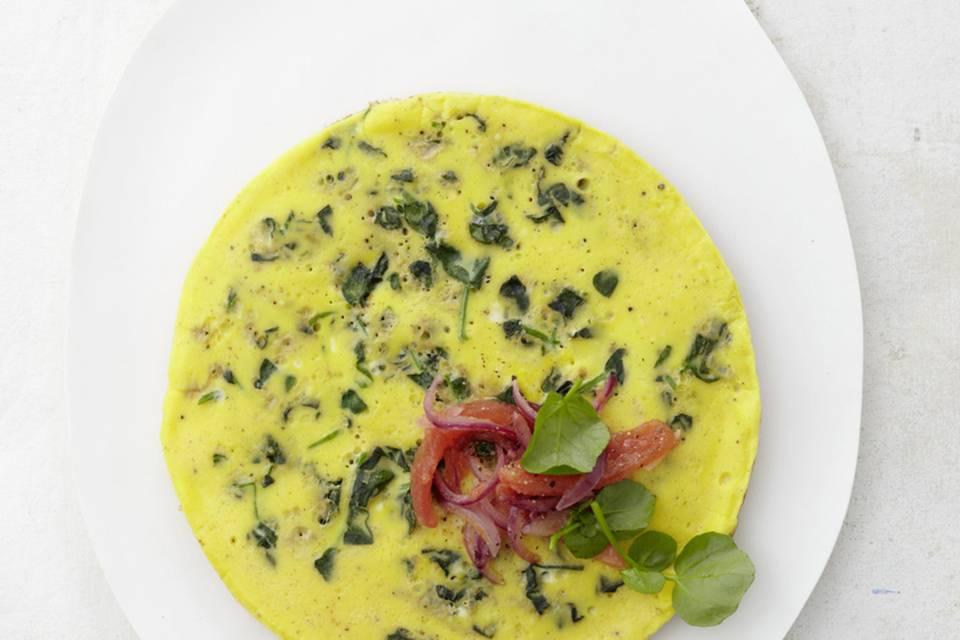 Omelette mit Brunnenkresse Rezept