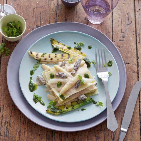 Offene Morchel-Spargel-Lasagne
