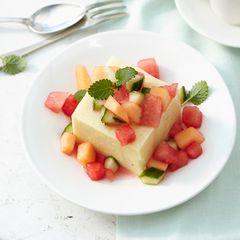 Vanilleschnitten mit Melonen-Gurken-Salat