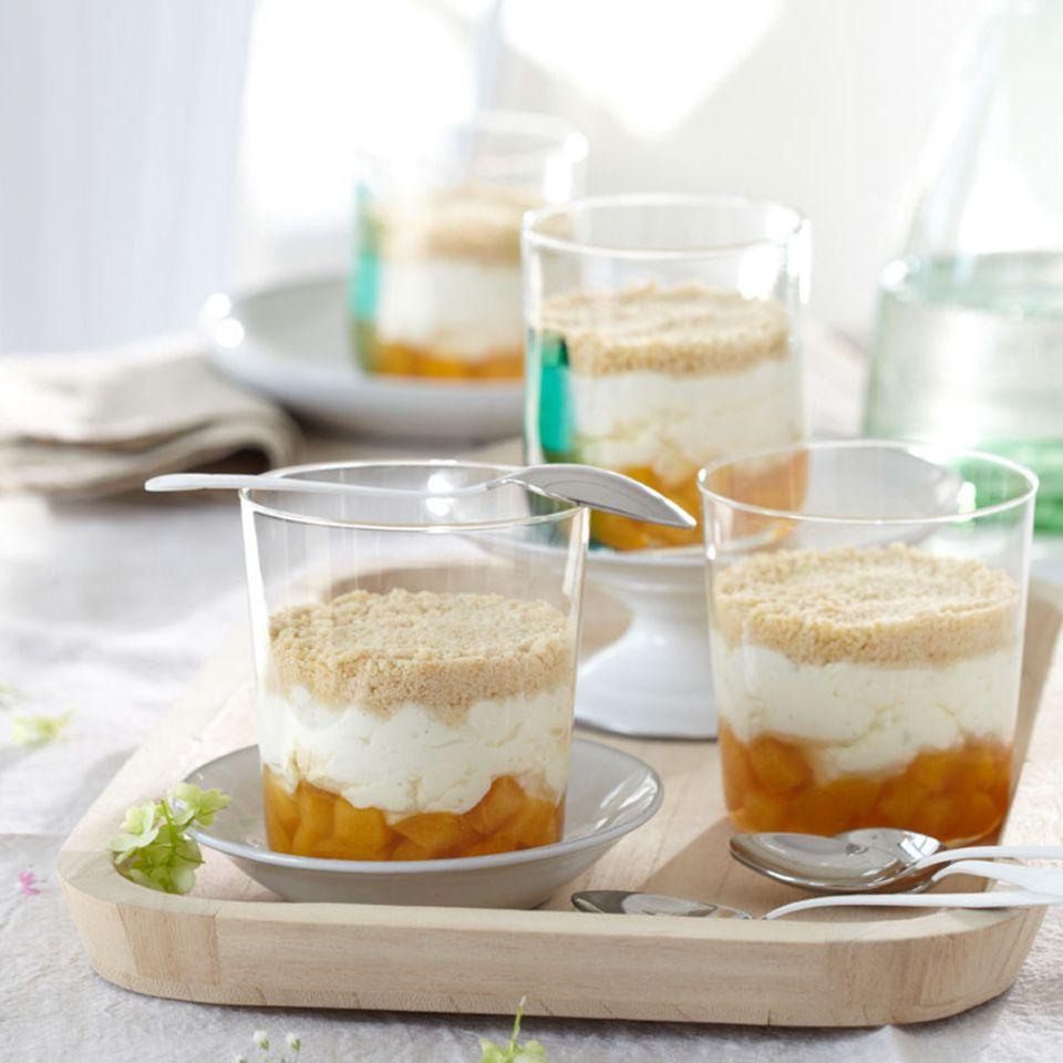 Falscher Aprikosen-Käsekuchen im Glas