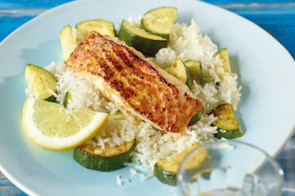 Seelachs mit Zucchini-Reis Rezept