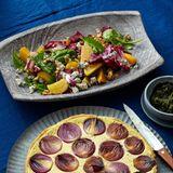 Spinatsalat mit Radicchio und Gelber Bete