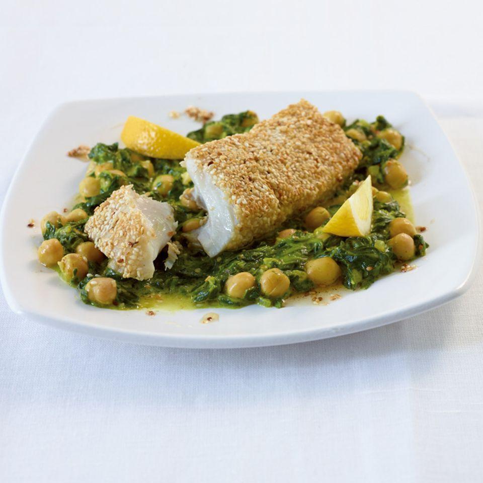 Knusperfisch mit Curryspinat