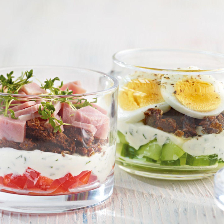 Schinken-Sandwich im Glas