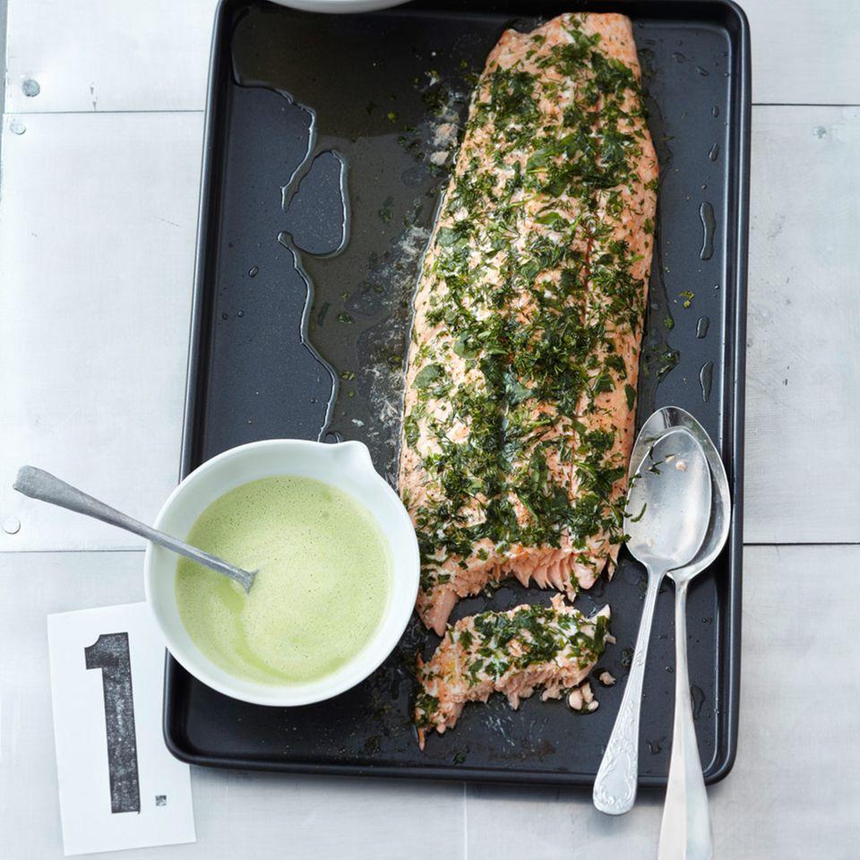 Lachs mit Spinat-Beurre-Vert