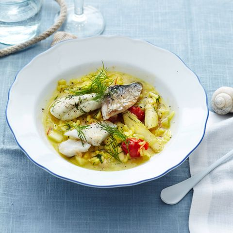 Bouillabaisse-Risotto mit Spargel