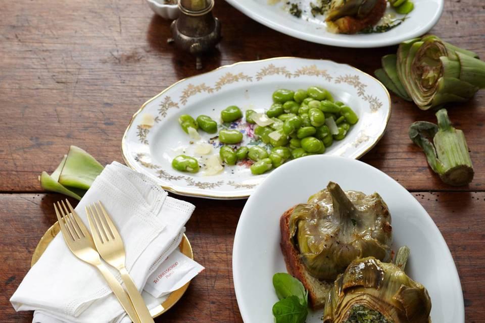 Gefüllte Artischocken mit dicken Bohnen und Pecorino Rezept