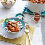 Auberginencurry mit Kichererbsen-Reis