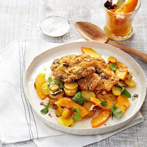 Bratkartoffeln mit Kürbis und Kalbsschnitzeln