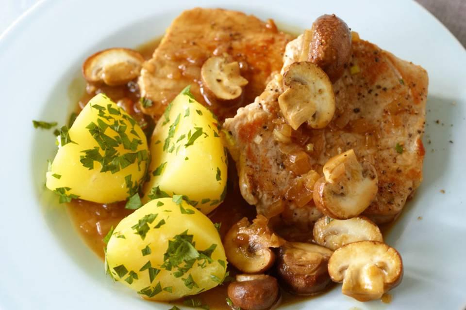 Schnitzel mit Pilzragout Rezept